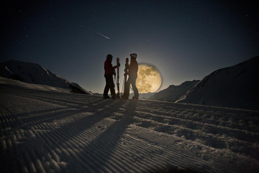 Mondschein Skifahren